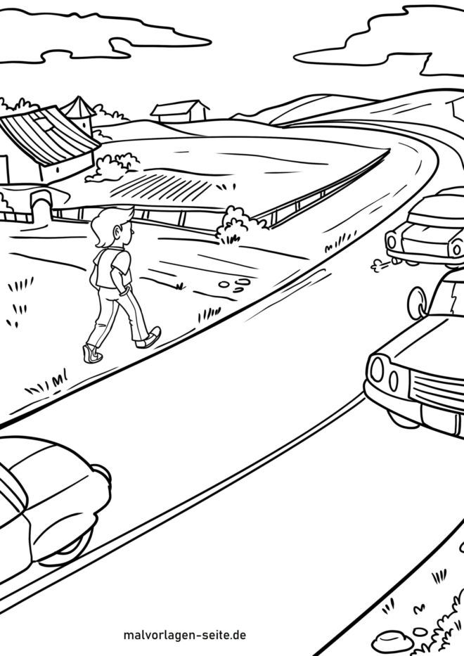 Coloring page Go left on country roads