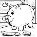 Coloring page piggy bank money