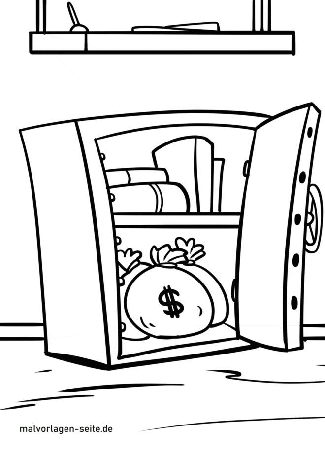 Malvorlage Tresor mit Geld