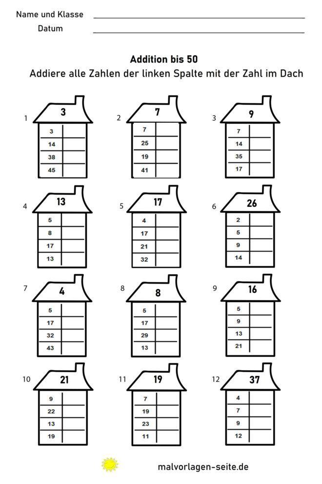 Бага сургуулийн математикийн дасгал хийдэг - 50 хүртэлх нэмэлт
