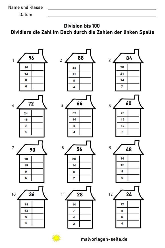 Rechnen üben Grundschule - Division bis 100