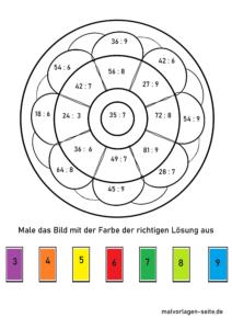 Mandala boshlang'ich maktabini hisoblash - 100 gacha bo'linish