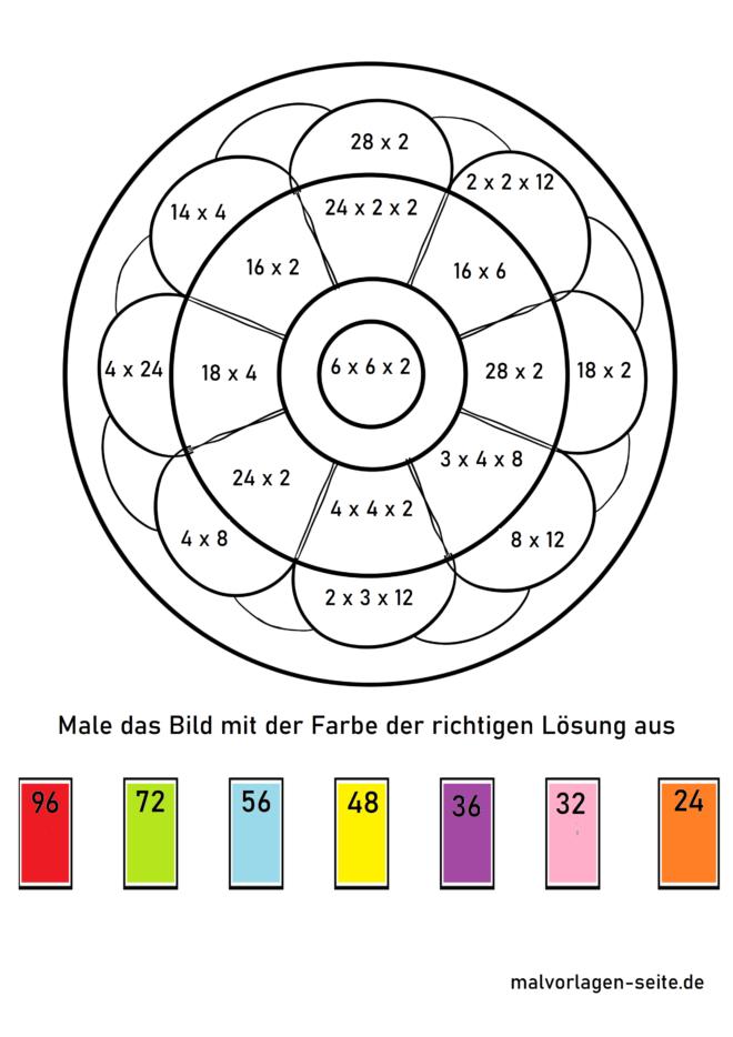 Rechenmandala Grundschule - Multiplikation bis 100