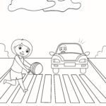 Coloring page Attention on crosswalk | Prevention