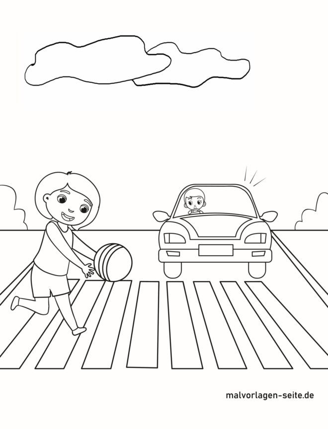Malvorlage Auch auf dem Zebrastreifen aufpassen