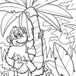 Coloring page monkey | Animals