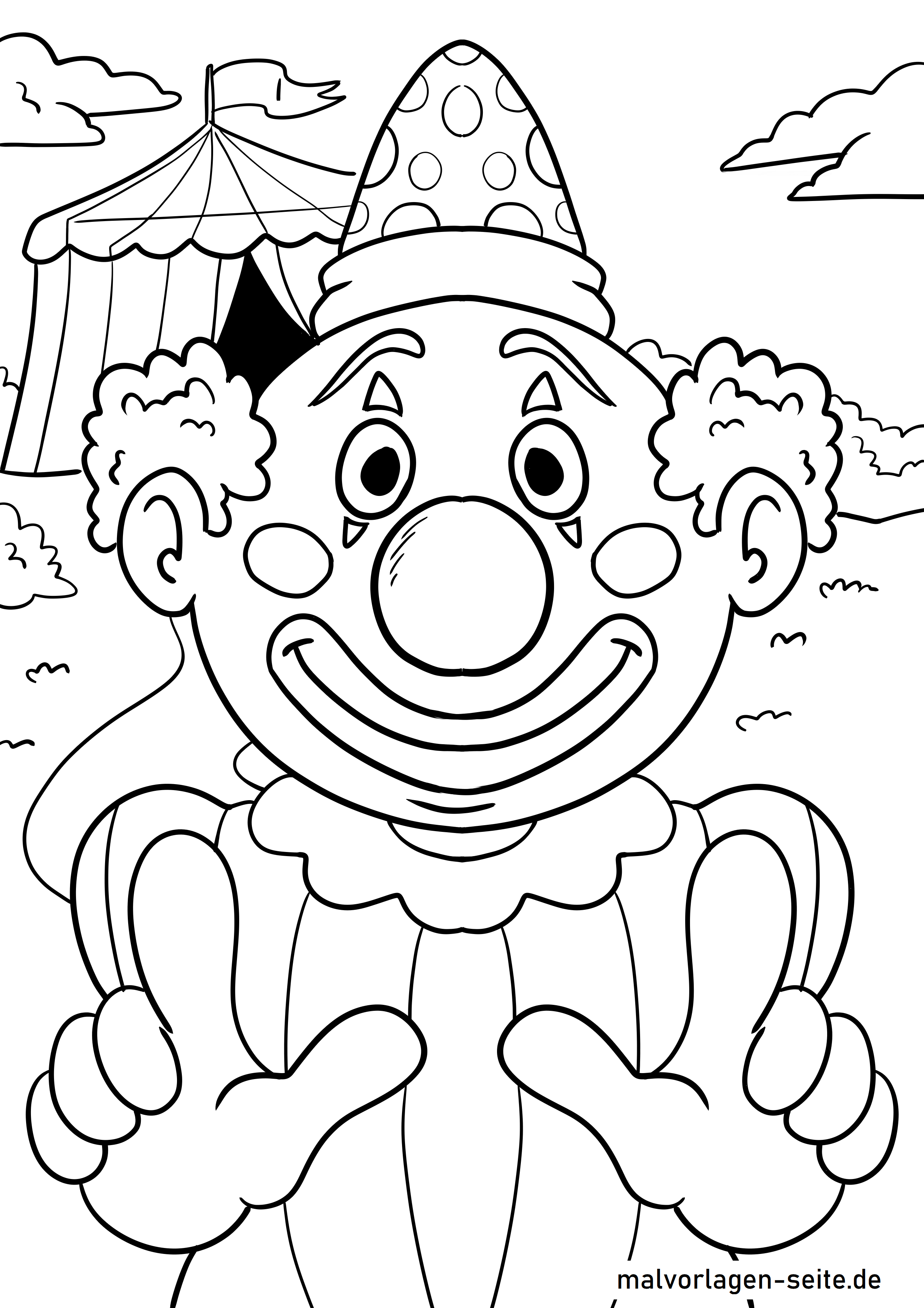 Coloring page clown face circus clown