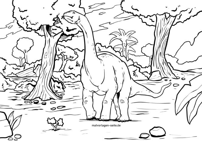 Koloriga paĝo de dinosaŭro