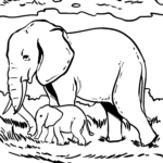 Coloring page elephant Wild animals