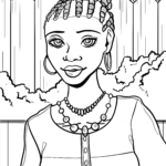 Coloring page woman Africa Cultures