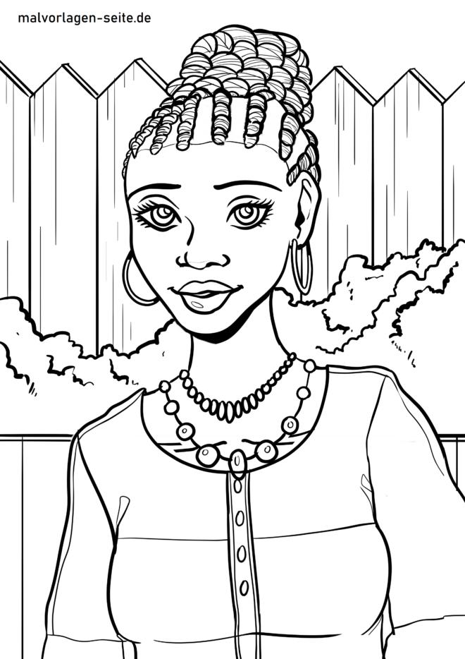 Malvorlage afrikanische Frau