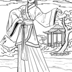 Coloring page chinese woman