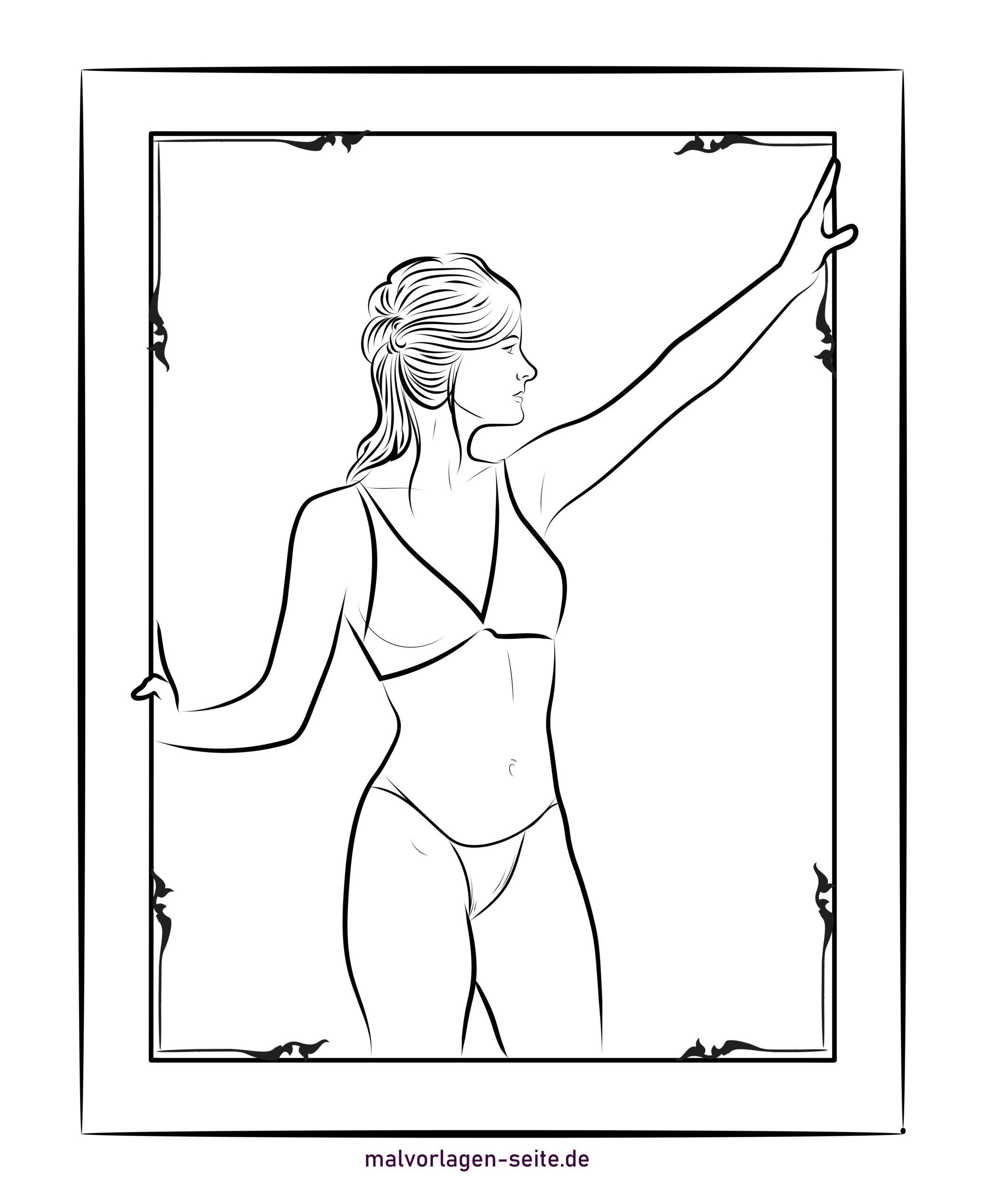 Зургийн хүрээн дэх эмэгтэй хуудсыг будах