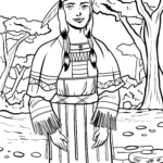 Coloring page Indian woman Cultures