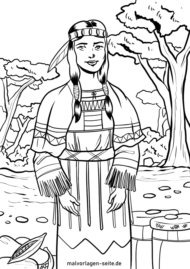 Coloring page Indian woman - cultural