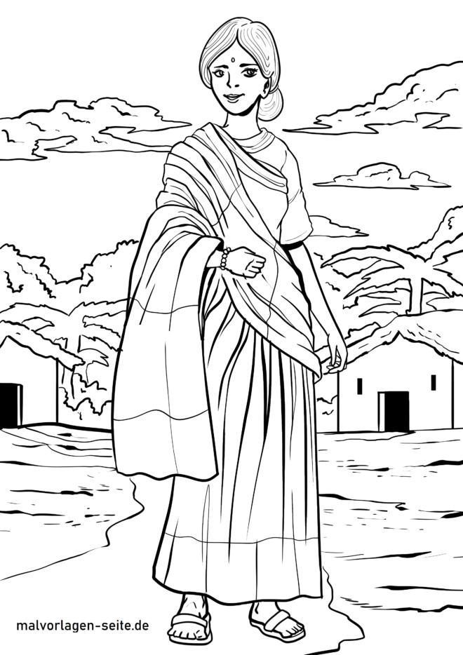 রঙিন পৃষ্ঠা ভারতীয় মহিলা