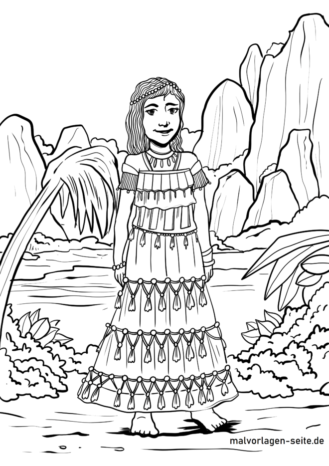 Coloring page South American woman