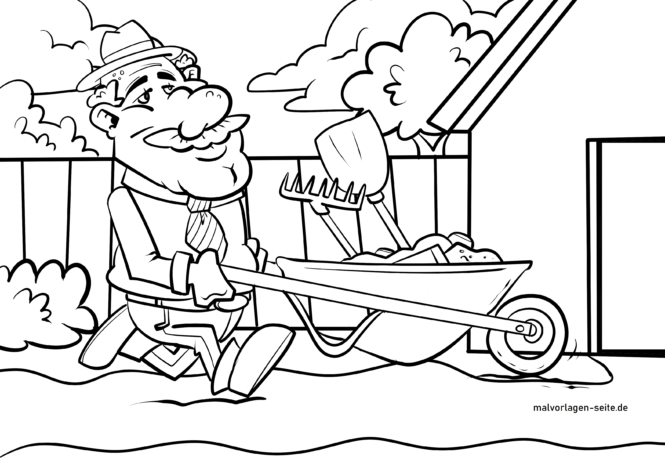 Coloring page garden tools for gardening