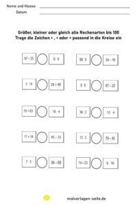Exercices d'arithmétique plus grand - moins - égal | Tous les types de calcul jusqu'à 100