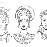 Coloring page women of different cultures