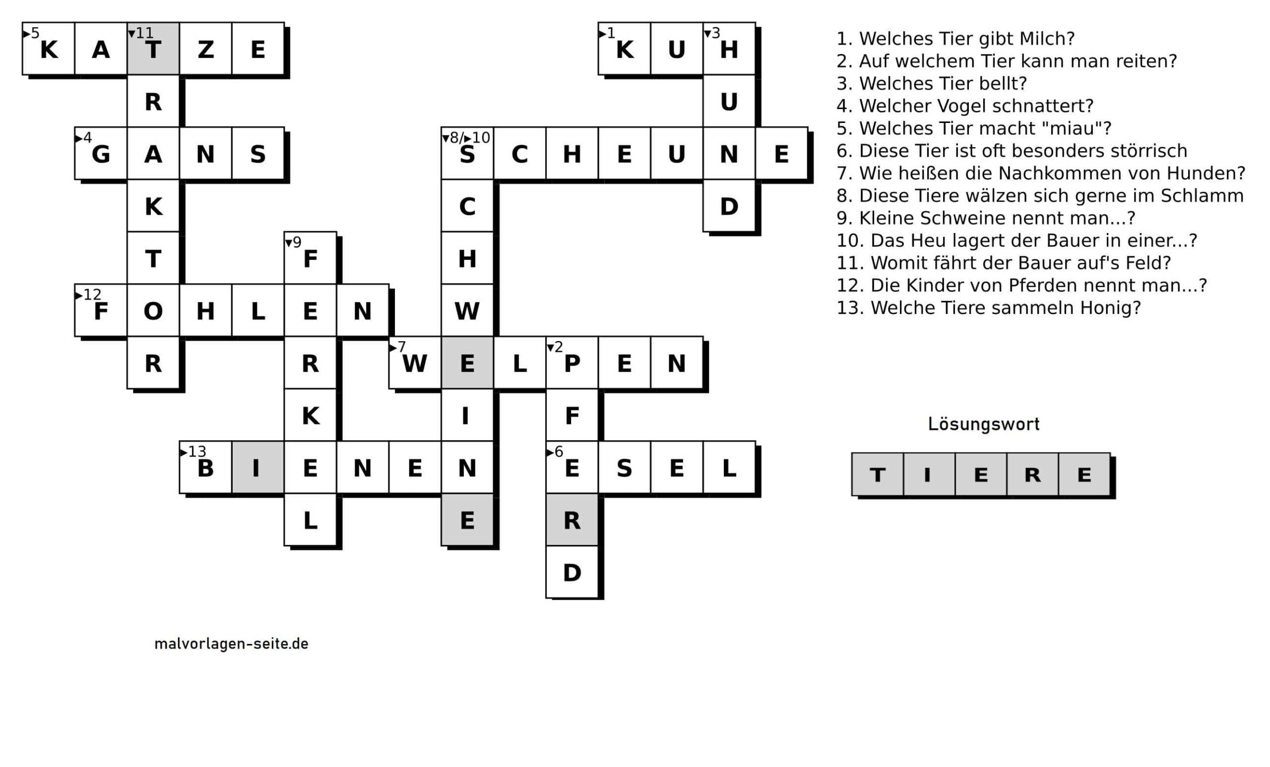 kreuzworträtsel für kinder  bauernhof  kostenlose