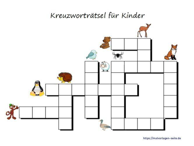 Kinder Kreuzworträtsel mit Bildern Tiere