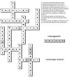 Kreuzworträtsel für kider - Jahreszeiten - Kostenlose Ausmalbilder