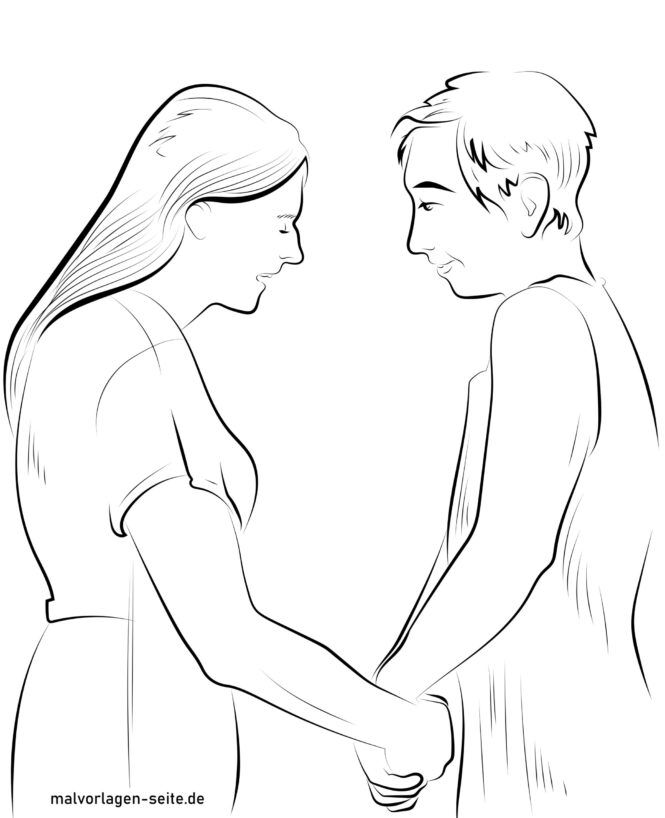 Coloring page older couple