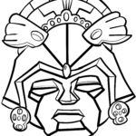 Coloring page Aztec mask