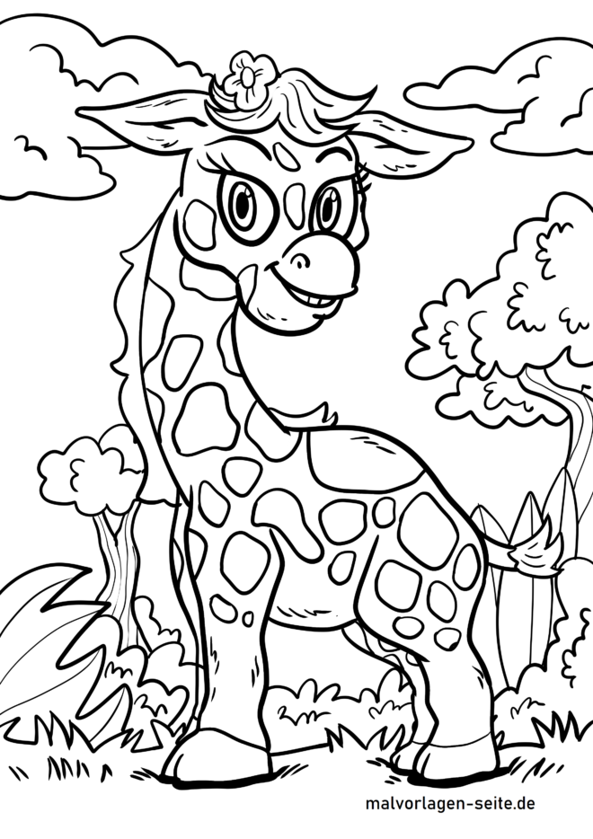 Página para colorir girafa