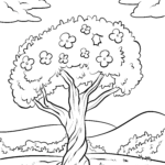 Coloring page tree with flowers