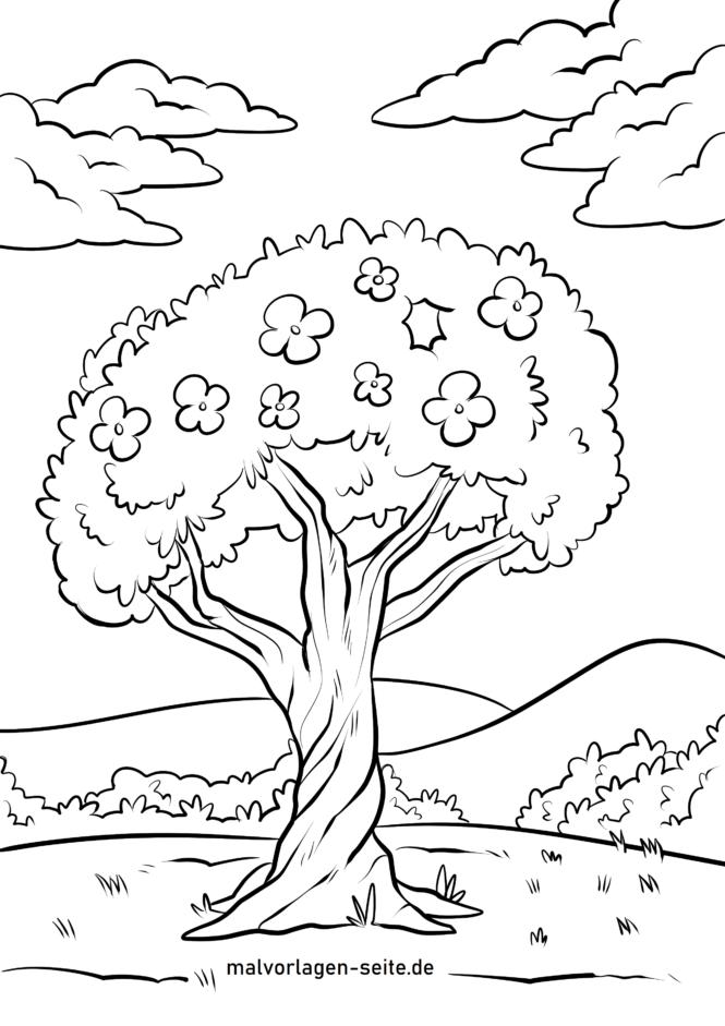 Bojanje stranice stablo s cvijećem