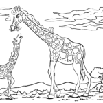 Coloring page giraffe Wild animals