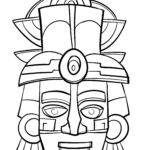 Coloring page Maya mask Cultures