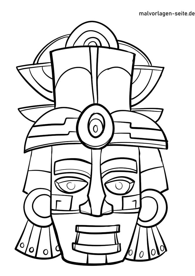 Coloring page Maya mask