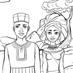 Coloring page couple from Africa