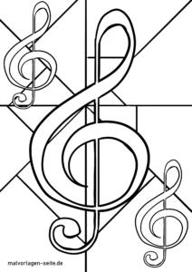 malvorlage notenschlüssel   musik - kostenlose ausmalbilder