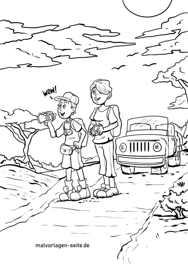 Malvorlage Safari mit Auto