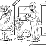 Coloring page multicultural family
