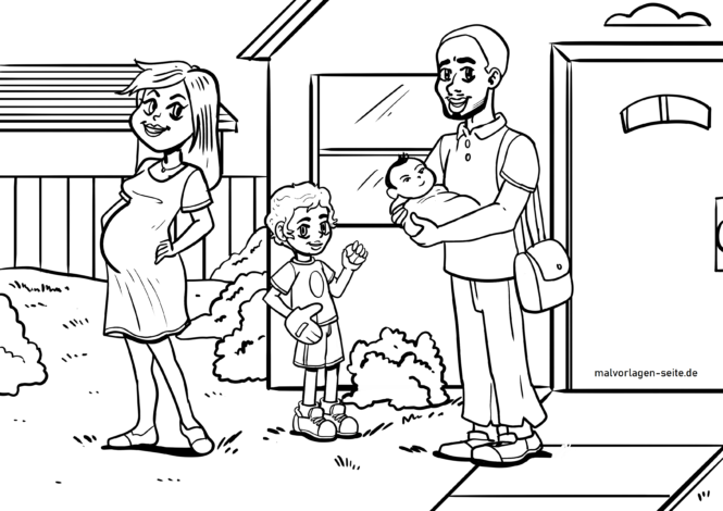 malvorlage familie multikulturell  kulturen  kostenlose