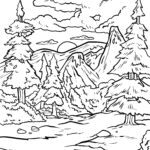 Coloring page conifer forest