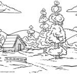 Coloring page landscape with conifers