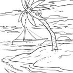 Coloring page palm tree Trees leave