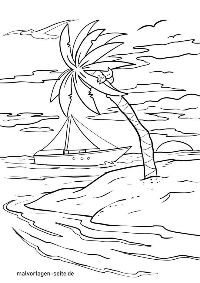 Página para colorir palmeira
