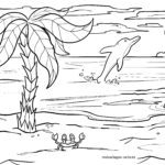 Coloring page palm tree Trees landscape