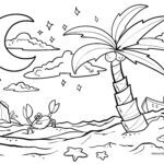 Coloring page palm tree Trees sea
