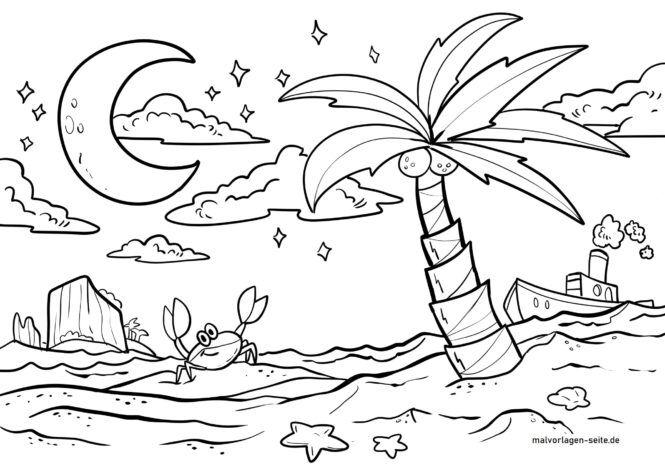 Bojanje stranice palme na mjesečini
