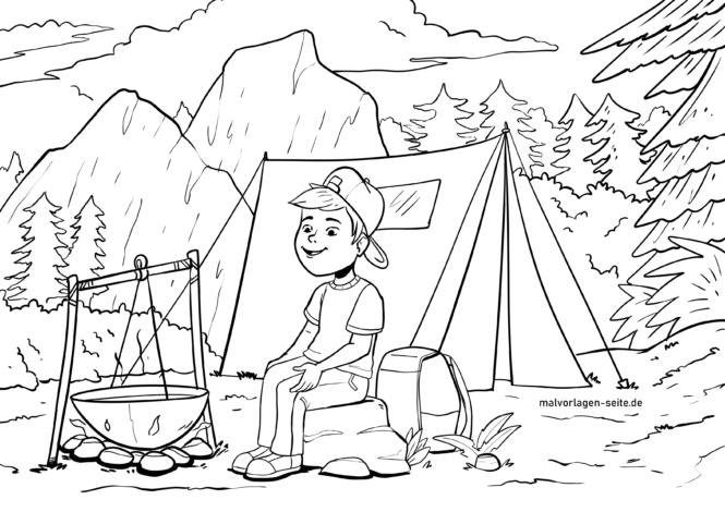 malvorlage zelten camping zelt  kostenlose ausmalbilder