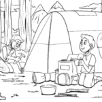 Coloring page camping & camping vacation