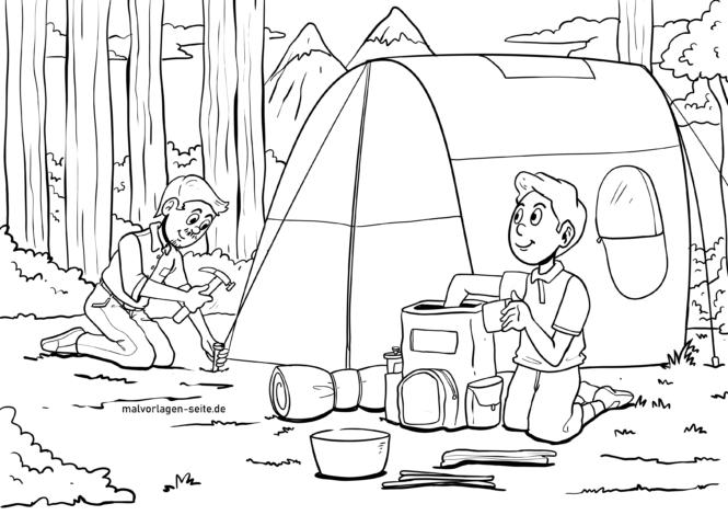 Coloring page camping & camping vacation